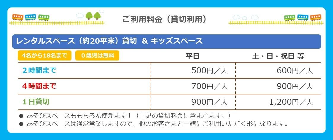 レンタルスペース料金表